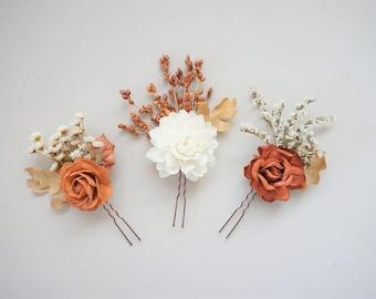 Fall Wedding Hair Pins, Bridal Hair Pins, Flower Hair Pin, Boho Hair Pins, Dried Flower Hair Accessory, Rustic Hairpiece, Autumn Hair Pins