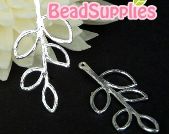 CH-ME-09147 - Nickel Free, silver plated, Twig with leaves, 6 pcs