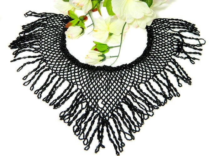 Antique,Black,Beaded,Dress,Collar,Embellishment,Supplies,edwardian, beads, beadwork,dress, beadworkdress embellishments, dressmaking beads,bead_dress_trim,antique_beadwork,antique_beads,antique_dressmaking,antique_sewing,antique_black_beads,black_glass_beading,beaded_collar