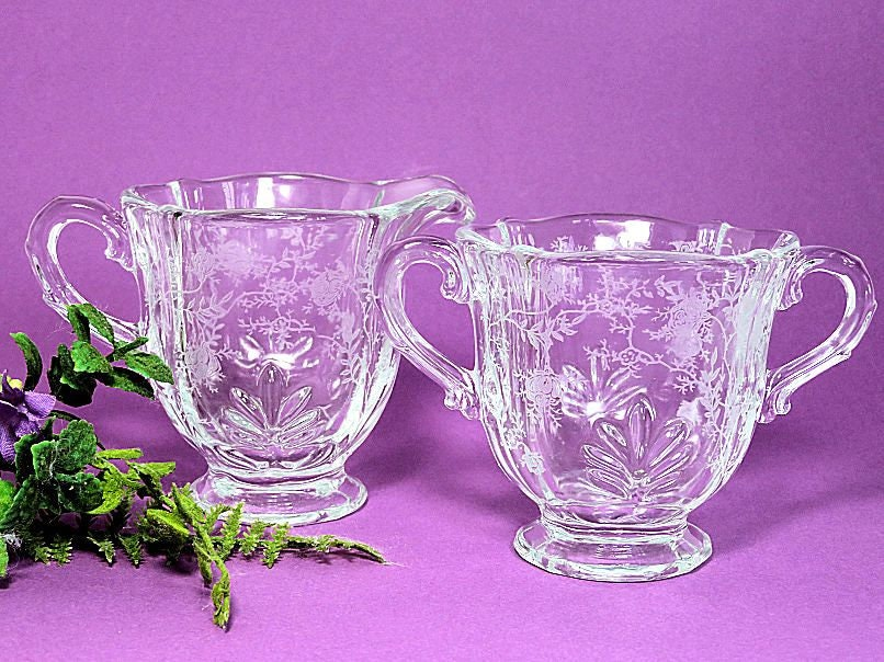 Fostoria,Glass,Chintz,Baroque,Creamer,and,Sugar,Etched,Roses,fostoria glass chintz, fostoria baroque creamer and sugar, fostoria etched creamer and sugar