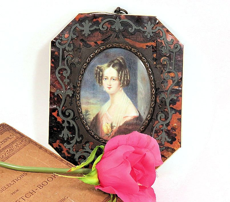 Early,19th,Century,Antique,Miniature,Portrait,Painting,Lady,with,a,Rose,Signed,19th c miniature painting, miniature portrait painting, antique portrait miniature