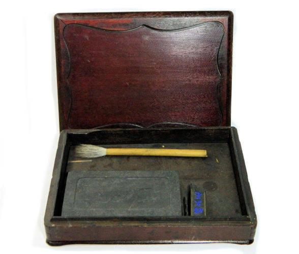 Antique,Japanese,Sumi-e,Artist's,Box,japanese sumi-e artist box, asian antiques, japanese ink stone box