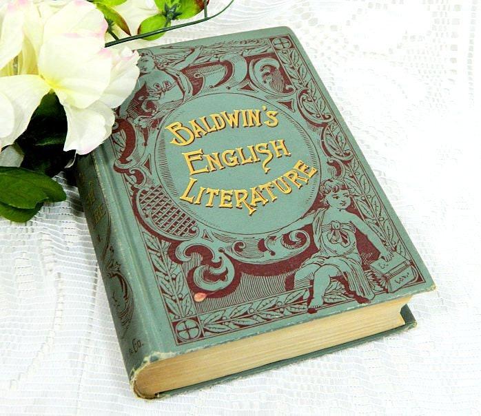 Antique,Book,Baldwin's,English,Literature,Vol.,I,Poetry,1894,antique english literature, antique literature book, bladwin's english literature