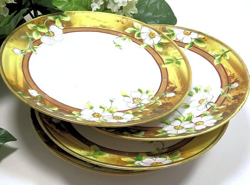 Six,Antique,Noritake,Nippon,Hand,Painted,Dessert,Plates,antique noritake plates, hand painted noritake plates, antique noritake nippon, antique nippon plates
