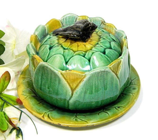 19th,C.,Antique,Majolica,Covered,Sauce,Bowl,Sunflower,with,Bird,Finial,antique majolica bowl, majolica sunflower bowl, majolica covered bowl, majolica sauce bowl, majolica bowl with bird