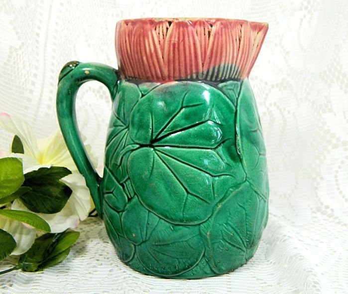 Antique,Majolica,Waterlily,Pitcher,Jug,antique majolica pitcher, majolica waterlily pitcher
