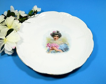 Antique Round Embossed Platter Edwardian Lady with Roses