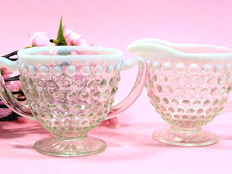 Anchor,Hocking,Moonstone,Opalescent,Hobnail,Glass,Creamer,and,Sugar,Housewares,Serving,moonstone_creamer,moonstone_sugar,opalescent_glass,hobnail_glass,hocking_moonstone,anchor_hocking_glass,depression_glass,elegant_glass,sweetwaters_antiques,white_opal_glass,cream_and_sugar,hobnail_creamer,hobnail_sugar