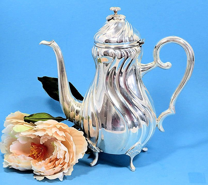 Danish,Silverplate,Footed,Coffeepot,Danmark,Solvplet,danish silverplate coffeepot, vintage silver coffeepot
