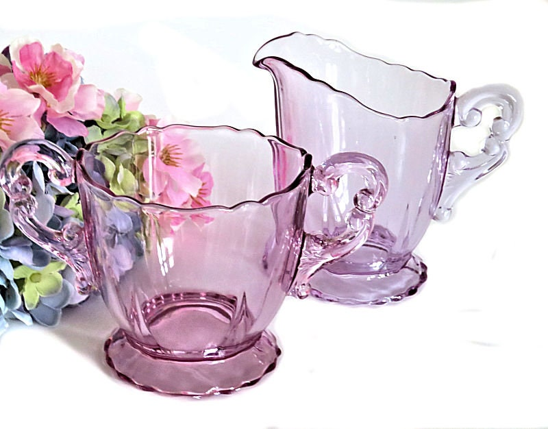 Cambridge,Glass,Heatherbloom,Purple,Creamer,and,Open,Sugar,cambridge glass cream and sugar, cambridge heatherbloom glass, 1930s cambridge sugar and creamer, elegant glass