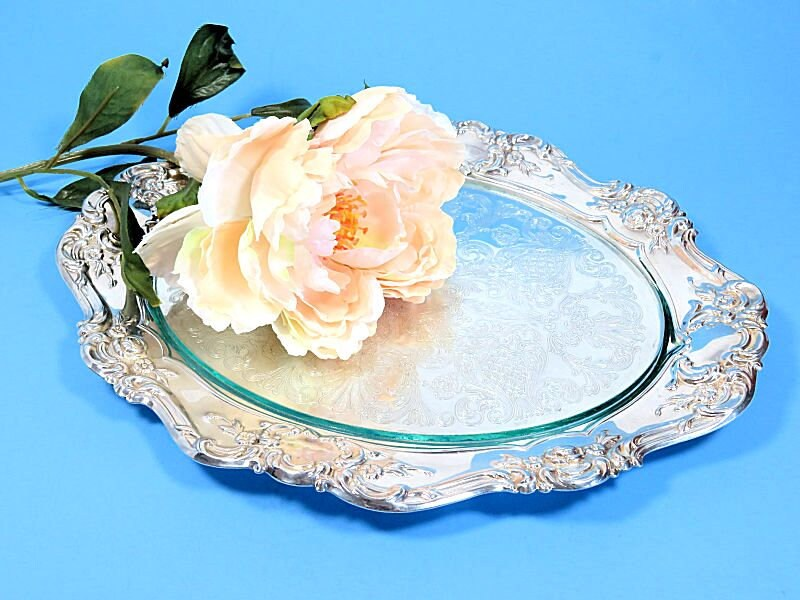 Towle,Repousse,Silverplate,Vanity,Serving,Tray,with,Glass,Insert,Old,Master,silverplate vanity tray, repousse tray, repousee silverplate, towle silverplate tray, silverplate and glass tray
