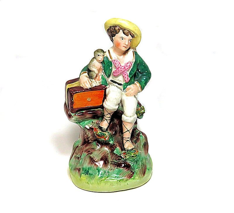 Antique,Staffordshire,Organ,Grinder,and,Monkey,Figurine,antique staffordshire figure, organ grinder figure, organ grinder and monkey, antique organ grinder