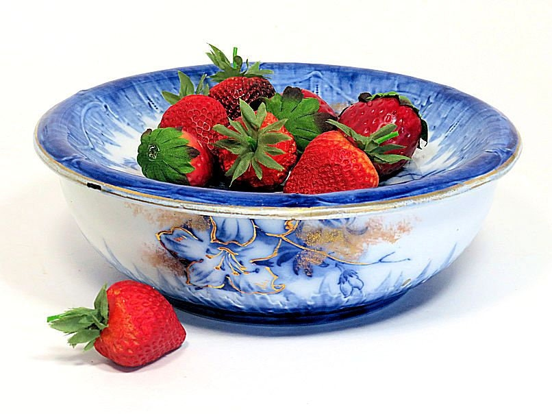 Antique,Booth's,Semi,Porcelain,Ironstone,Strawberry,Bowl,with,Strainer,Cobalt,and,Gold,Azalea,Pattern,booths semi porcelain, antique berry bowl, flow blue berry bowl, bowl with strainer, blue and whihte berry bowl