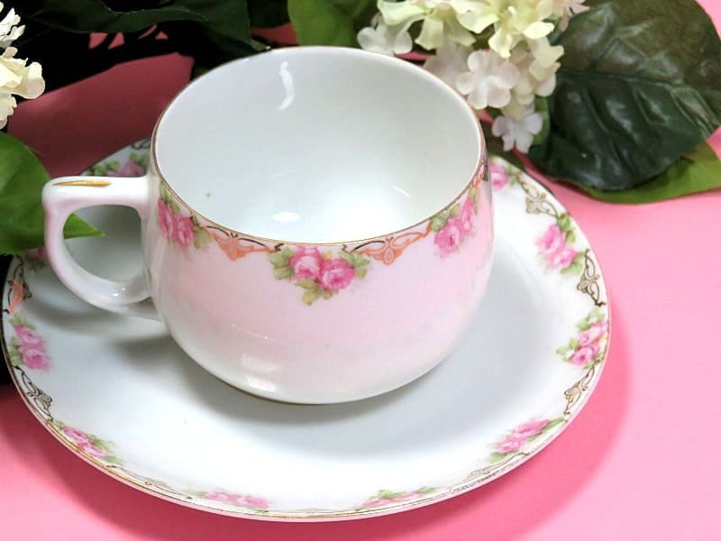 Antique,MZ,Austria,Cup,and,Saucer,Rose,Garland,Multiples,m z austria china, m z austria teacups, antique teacups, rose pattern teacups, antique austrian china