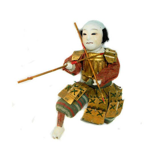 Antique,Japanese,Gofun,Ningyo,Samurai,Warrior,Doll,antique japanese doll, gofun ningyo doll, samurai doll, asian antiques