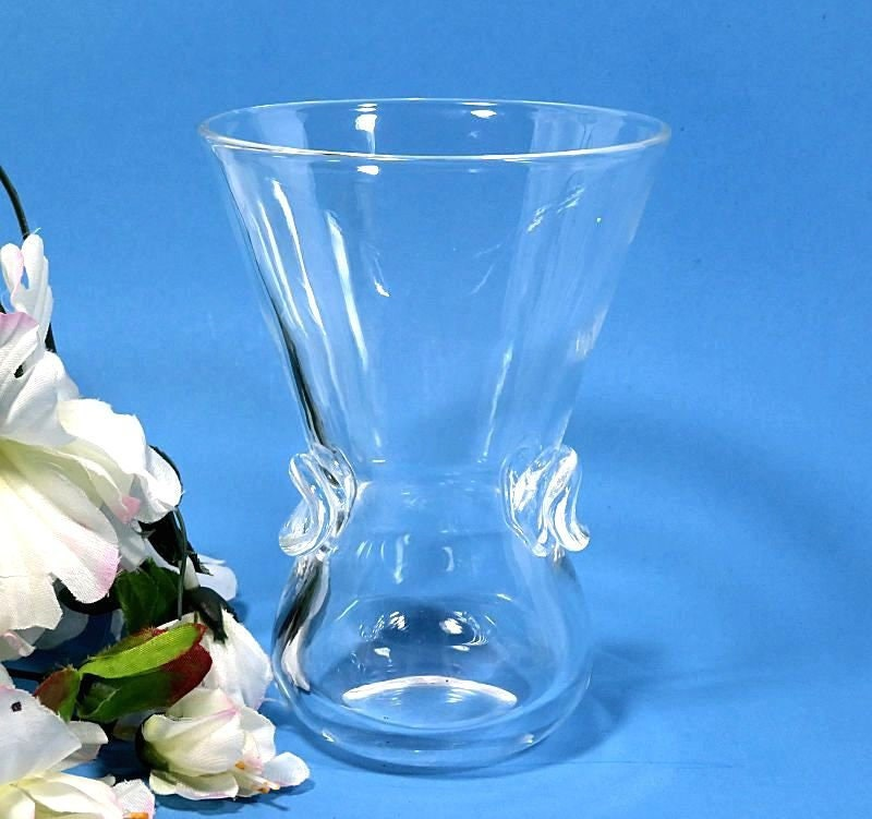 Signed,Steuben,Crystal,Vase,with,Thumbprint,Handles,steuben crystal vase, steuben thumbprint handles, signed steuben, steuben glass