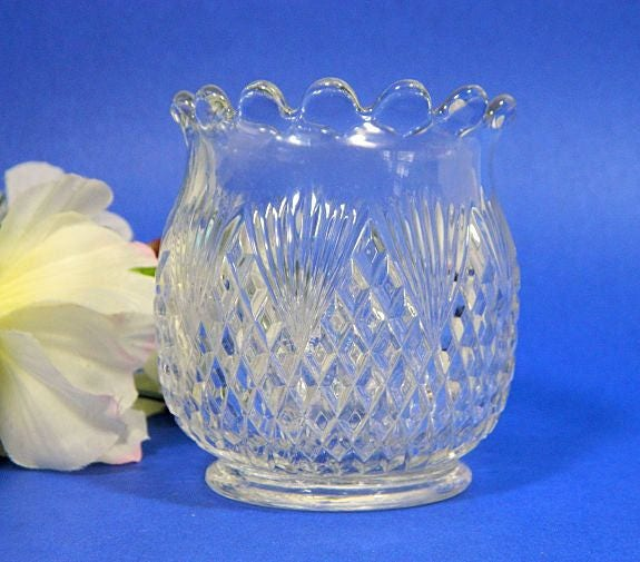 Antique,EAPG,Pressed,Glass,Spooner,Diamond,and,Fan,eapg glass spooner, glass spoon holder, eapg diamond and fan, pattern glass spooner