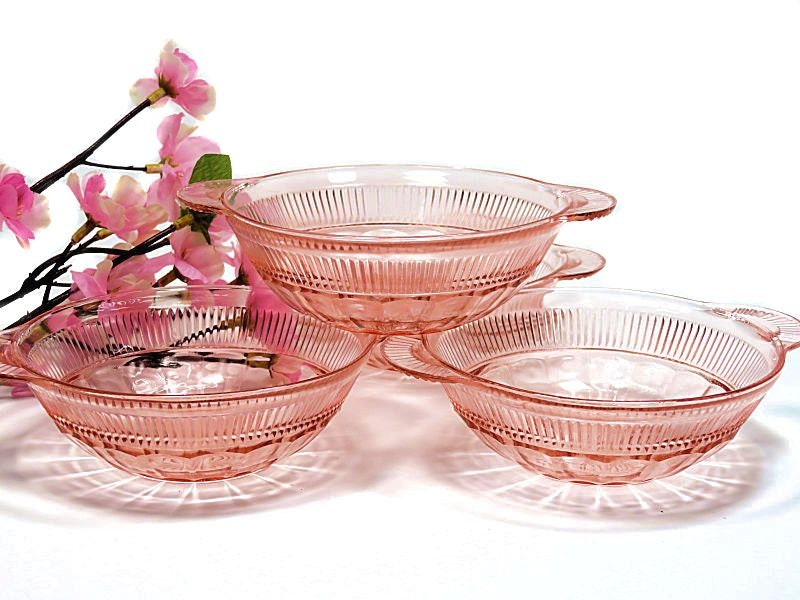 Four,Pink,Depression,Glass,Hocking,Coronation,Lug,Handle,Fruit,Bowls,pink depression glass, hocking coronation bowls, pink glass fruit bowls
