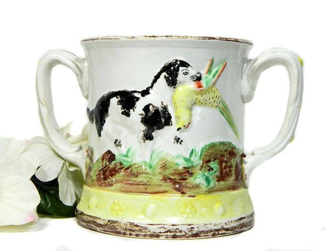 Early,19th,Century,Antique,Staffordshire,Double,Handled,Prank,Ague,Mug,with,Frog,Inside,Hunting,Dog,Motif,antique prank mug, staffordshire prank mug, antique mug with frog, antique ague mug, hunting dog prank mug, double handle mug