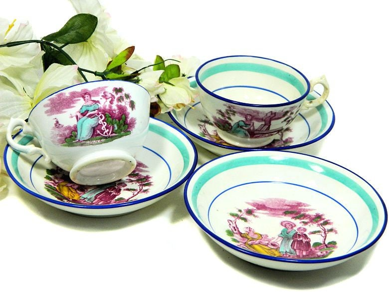 Two,Antique,Sunderland,Polychrome,Cups,and,Saucers,Faith,Hope,Charity,plus,Extra,Saucer,Housewares,sunderland_china,antique_sunderland,faith_teacups,hope_teacups,charity_teacups,polychrome_teacups,victorian_teacups,victorian_china,virtues_teacups,biblical_virtues,transferware_cups