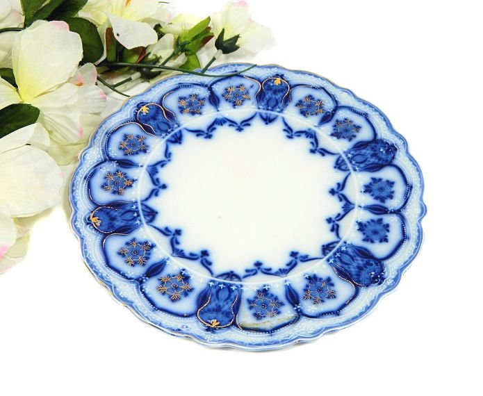 Antique,Johnson,Bros,Flow,Blue,Eclipse,Dessert,Plate,Housewares,sweetwaters_antiques,antique_flow_blue,flow_blue_plate,johnson_bros_plate,johnson_eclipse,eclipse_plate,flow_blue_dessert,dessert_plate,johnson_flow_blue,johnson_bros_eclipse,1900s_flow_blue