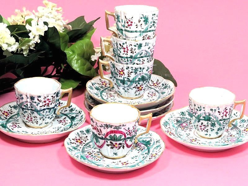 Six,Antique,French,Samson,Porcelain,du,Paris,Hand,Painted,Demitasse,Cups,and,Saucers,samson paris teacups, french demitasse cups, antique porcelain du paris