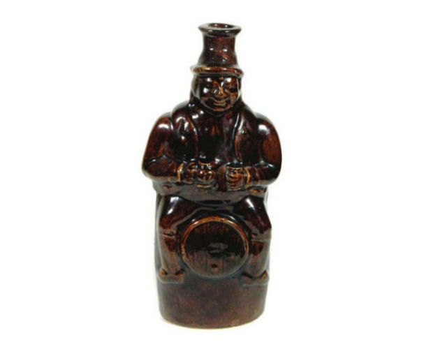 Mid 19th Century Antique English Treacle Glaze Figural Bottle Man on Barrel - product images  of