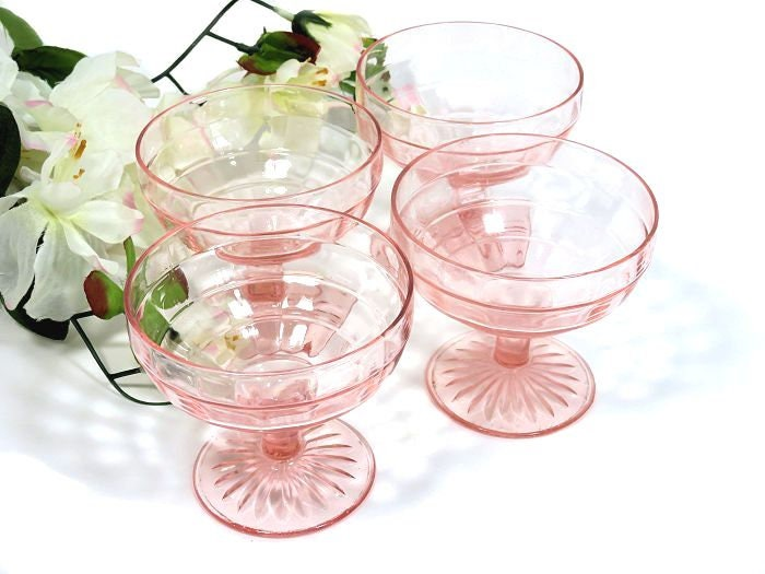 Four,Depression,Glass,Pink,Block,Optic,Sherbet,Dishes,depression glass sherbets, pink depression glass, depression block optic