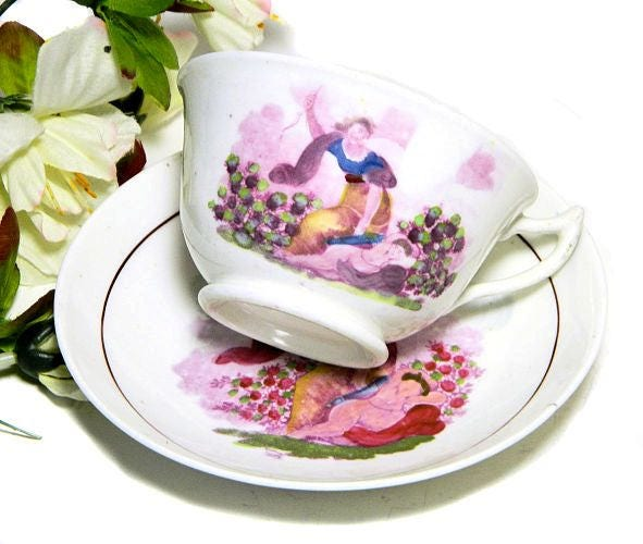 19th,Century,Antique,Staffordshire,Hand,Enamelled,Cup,and,Saucer,Cupid,Goddess,antique staffordshire cup and saucer, 1820s english cup, 1830s english cup, antique transferware