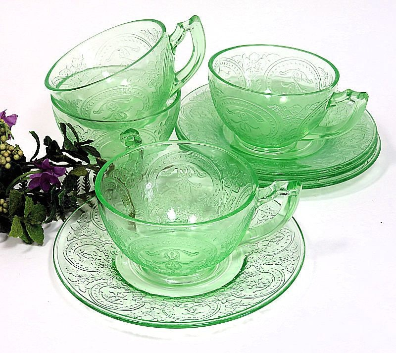 Four,Indiana,Glass,Green,Depression,Horseshoe,Pattern,Cups,and,Saucers,green depression glass, depression glass cups and saucers, glass horseshoe pattern cups