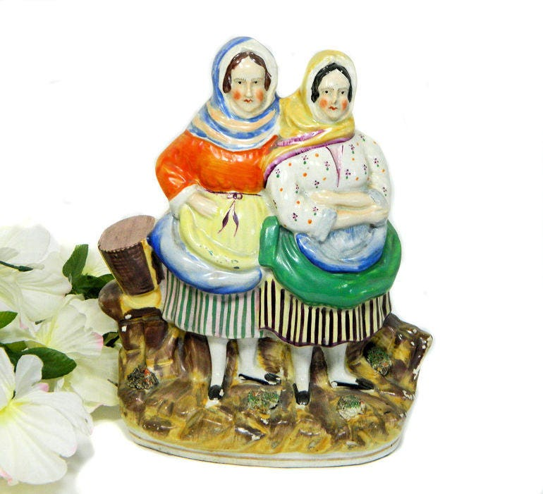 19th,Century,Antique,Staffordshire,Group,Figure,Fishermen's,Wives,Fish,Sellers,antique staffordshire figurine, antique fish wives figure, staffordshire fish sellers figure, staffordshire fishermaen's wives
