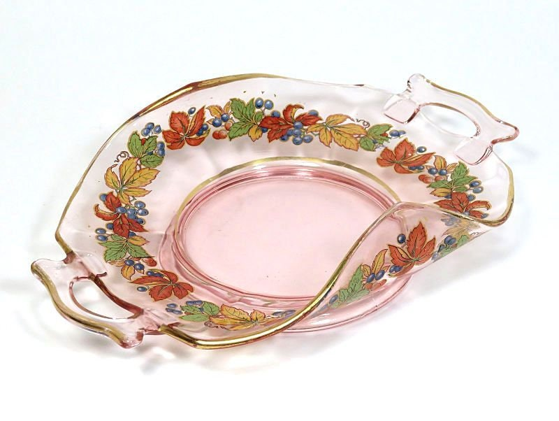 Imperial,Molly,Pink,Depression,Glass,Dish,Upturned,Handles,Autumn,Leaves,imperial molly glass dish, pink depression glass, depression glass bonbon dish, autumn leaf decal dish