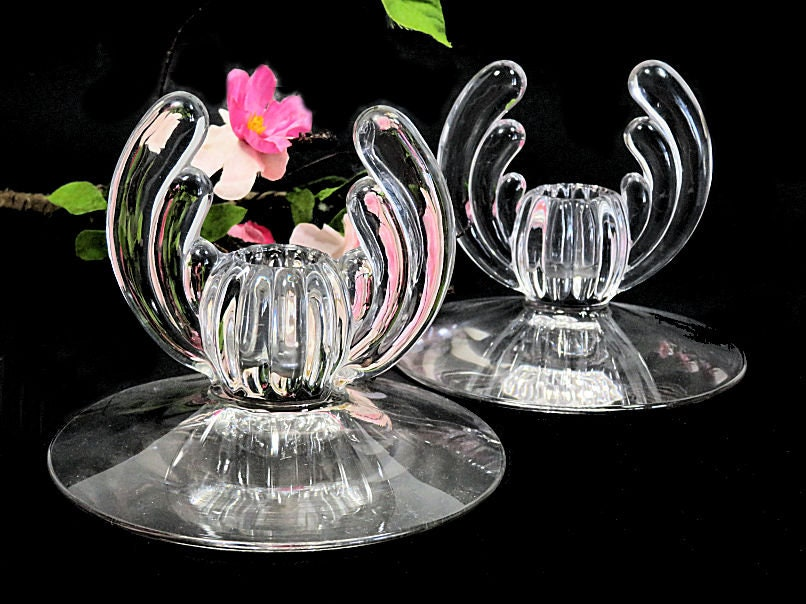 A,Pair,of,Heisey,Crystolite,Candle,Holders,Art,Deco,heisey candle holders, heisey crystolite candleholders, art deco candle holders