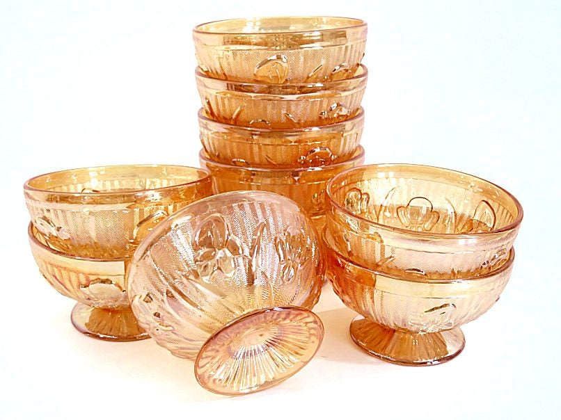 Ten,Jeanette,Marigold,Carnival,Glass,Footed,Sherbets,Iris,and,Herringbone,depression glass sherbets, carnival glass sherbet dishes, footed glass sherbet dishes, iris and herringbone sherbets