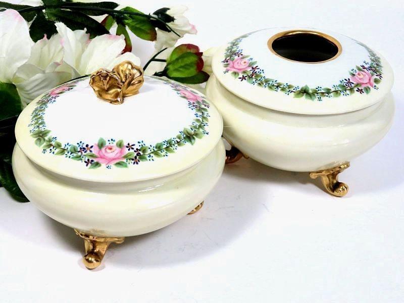 Antique,GDA,Haviland,Limoges,Hand,Painted,Dresser,Jar,and,Hair,Receiver,gda haviland limoges, haviland limoges dresser jar, antique limoges dresser jar