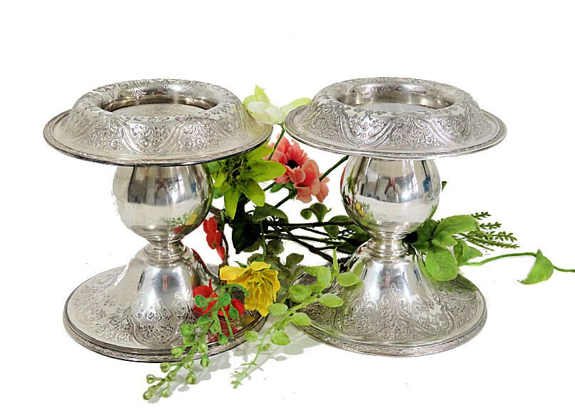 A,Pair,of,Wilcox,Silverplate,Console,Candle,Holders,Paisley,Pattern,wilcox silverplate candleholders, paisley pattern candleholders, silverplate console candleholders