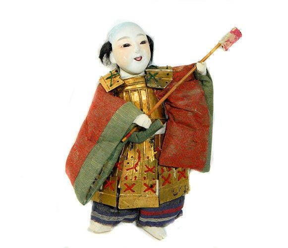 Antique,Japanese,Gofun,Ningyo,Warrior,Doll,antique japanese doll, gofun ningyo doll, asian antiques doll