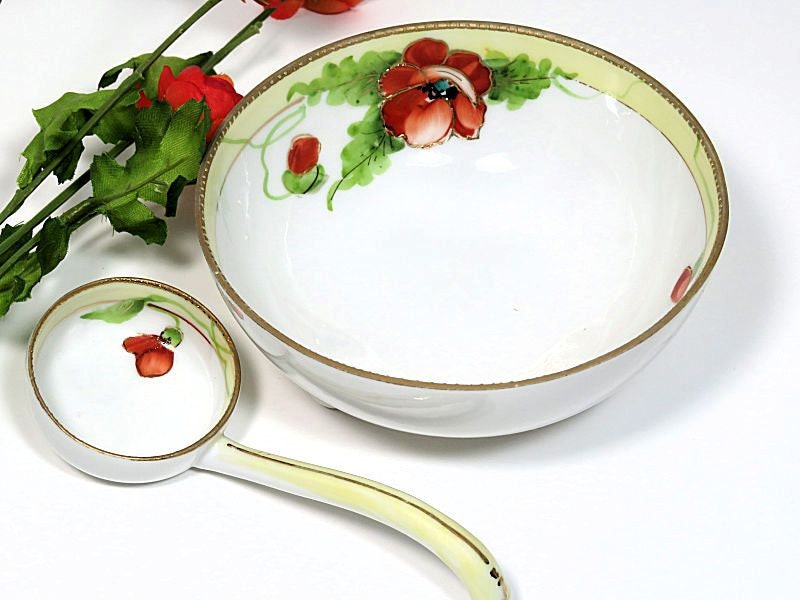 Hand,Painted,Nippon,Mayonnaise,Bowl,and,Ladle,Poppies,nippon mayonnaise bowl, poppy mayonnaise bowl, hand painted mayonnaise bowl