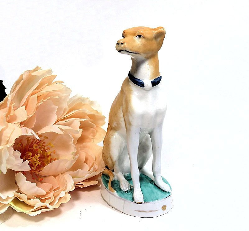 Antique,Staffordshire,Seated,Whippet,Greyhound,Figurine,antique staffordshire whippet, staffordshire greyhound,  whippet figurine, greyhound figurine