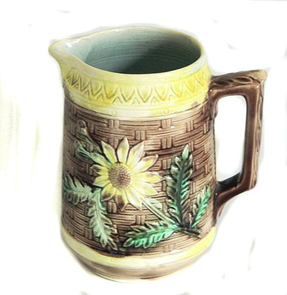 Antique Majolica Pitcher Basketweave and Flowers - product images  of