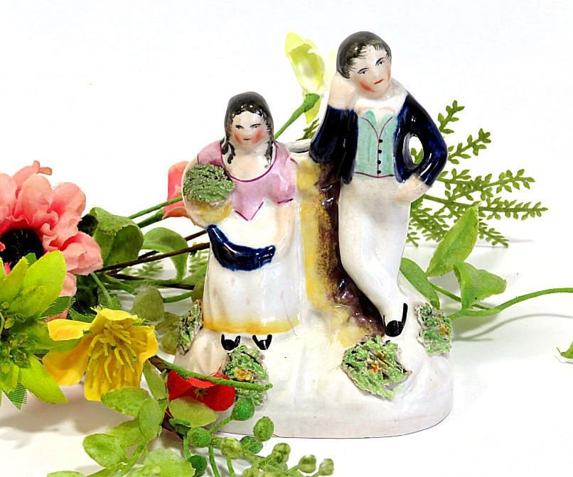 Small,Mid,19th,Century,Staffordshire,Figurine,Pair,with,Bud,Vase,Quill,Holder,antique staffordshire figurine, 1860s staffordshire bud vase, staffordshire quill holder