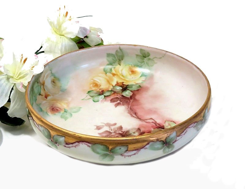 Antique,Hand,Painted,Porcelain,Tri-Foot,Bowl,Yellow,Roses,Housewares,antique_bowl,hand_painted_bowl,decorative_bowl,hand_painted_roses,painted_yellow_roses,rose_painted_bowl,footed_china_bowl,gold_trim_bowl,tri_foot_bowl,1910s_painted_bowl,1920s_painted_bowl