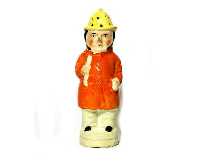 19th,Century,Antique,Staffordshire,Fireman,Figural,Pepper,Pot,antique pepper pot, english pepper pot, fireman figural pepper shaker