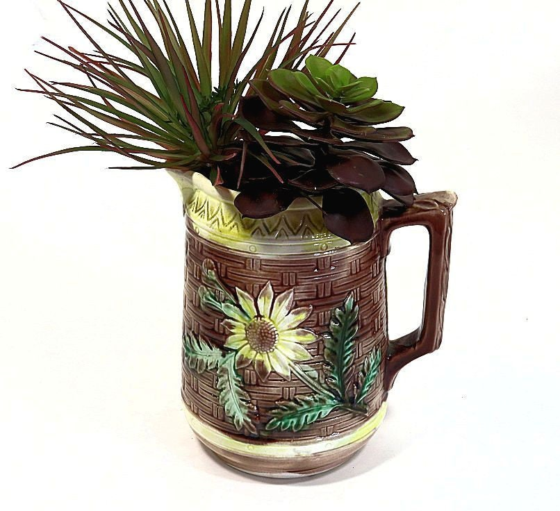 Antique,Majolica,Pitcher,Basketweave,and,Flowers,antique majolica pitcher, majolica basketweave pitcher