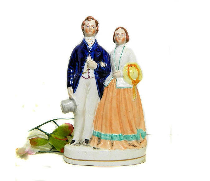 19th,Century,Antique,Staffordshire,Victorian,Couple,Figurine,Vintage,Collectibles,victorian_figurine,staffordshire_figure,victorian_couple,blue_eyed_figurine,19th_c_staffordshire,victorian_fashion,sweetwaters_antiques,victorian_lady,victorian_dandy,double_figurine,mid_19th_c_figurine,staffordshire_couple,staffordsh