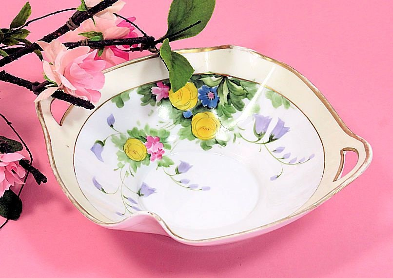 Hand,Painted,Nippon,Two,Handled,Bowl,Mixed,Flowers,hand painted nippon,hand painted nippon bowl, nippon floral bowl,small serving bowl, m in wreath,morimura_bowl,bow_with_handles,country_cottage_bowl,yellow_rose_bowl,bluebells_bowl