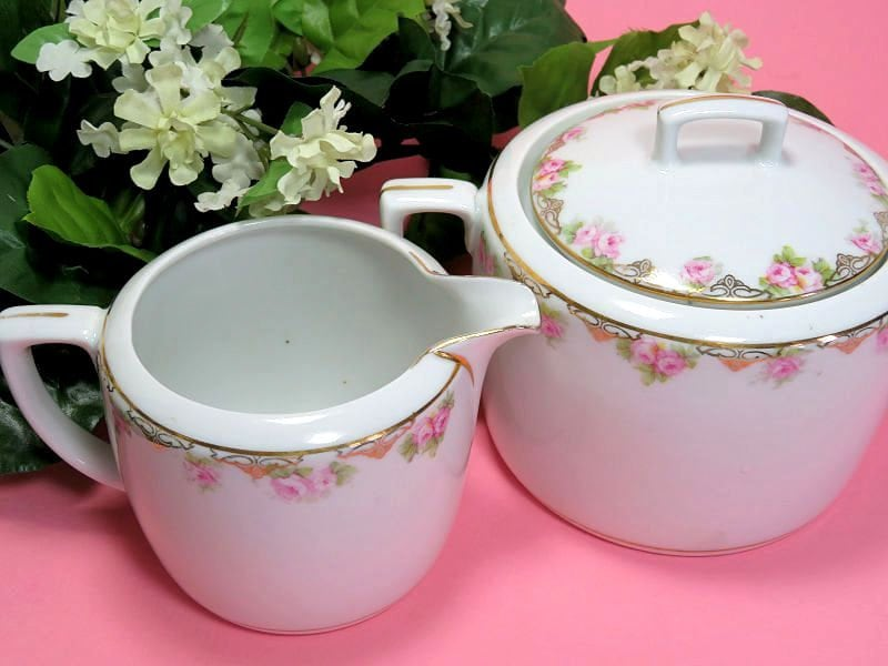 Antique,MZ,Austria,Creamer,and,Covered,Sugar,Bowl,Rose,Garland,m z austria china, m x austria creamer and sugar, rose pattern sugar and creamer antique cream and sugar set, austrian china cream and sugar
