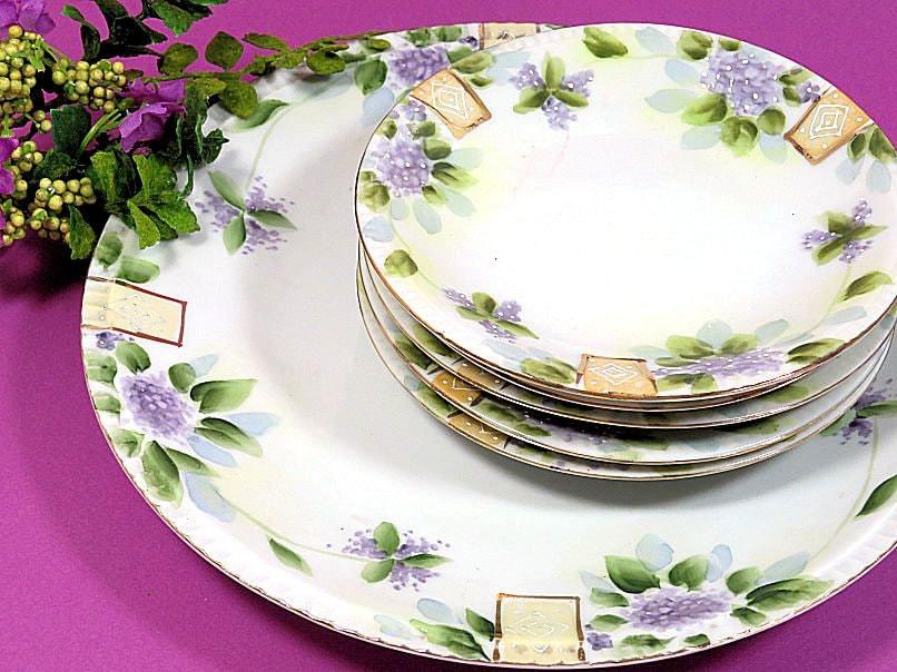 Six,Piece,Art,Deco,Hand,Painted,Cake,and,Dessert,Plates,Lilacs,art deco dessert set, art deco dessert plates, bibi dessert plates, lilac pattern plates, dessert plate set