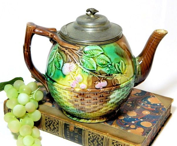 Antique,Majolica,Teapot,with,Pewter,Lid,Basketweave,and,Berry,Pattern,Housewares,antique_majolica,majolica_teapot,raspberry_majolica,english_majolica,pewter_lid_teapot,19th_c_majolica,basketweave_majolica,sweetwaters_antiques,antique_teapot,mottle_majolica,pottery_teapot,majolica_pottery