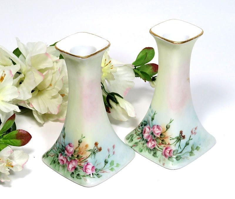 A,Pair,of,Antique,PL,Limoges,Candle,Holders,Hand,Painted,Roses,pl limoges candleholders, antique limoges candleholders